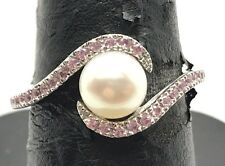 Sterling 925 Elevated White Pearl / Pink Sapphire Wave Swirl Cocktail Band Ring