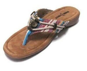 NEW MINNETONKA SILVERTHORNE SANDALS WOMENS FLIP FLOP 7000 MULTI CORTEZ FABRIC