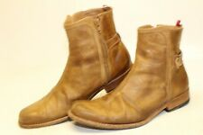 Ted Baker Mens 10 43 Tan Distressed Leather Side Zip Ankle Boots TBMA06587