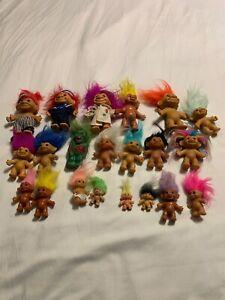 "Lot Of 21 Vintage Trolls Various 4"" 3"" 2"" Russ Norfin Baby Adult Set"