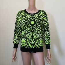 C747 - Missing Label Neon Green and Black KNitted/Woven Stretchable Sweater Top