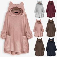 Women Fleece Coat Cat Ear Plus Size Long Sleeve Hoodie Pocket Top Sweater Blouse