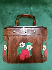 Vintage Decoupage Sewing Basket With Celluloid (Bakelite?) Handle