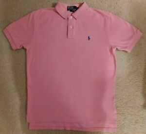 Polo Ralph Lauren Pink Men's Collar T Shirt Short Sleeve Size Medium Used Preppy