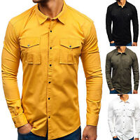 Men Long Sleeve Cargo Casual Work Shirt Military Army Slim Fit Shirts Pocket Top
