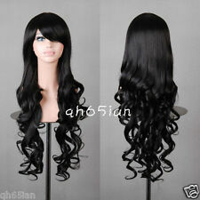 Women wig Long black Curly wavy Classic Cosplay Party Wigs + free wig cap