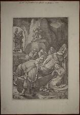 Stampa antica old print Goltzius Deposizione 1596 kupferstich Jesus Cristo