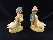 Vintage Chalkware Figurines Boy & Girl w/ Geese Alpine/German Set of 2