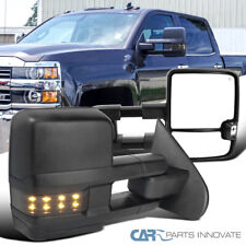 For 14-18 Silverado Sierra Power Heated Black Side Tow Mirrors+Smoke LED Signal