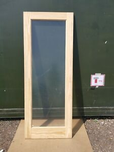 DIS2860 Howdens Single Panel Glazed Solid Pine 2'6 Int. Door