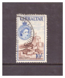 Gibraltar QEII 1953 10/- brown & blue Tower of Homage Mooring Castle used SG157