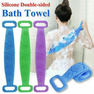 Back Body Scrubber Bathroom Silicone Cleaning Belt Bath Dual Sided Massage Brush