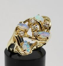 18k Yellow Gold .60ct Water / Crystal and White Opal .18ct Diamond Ring