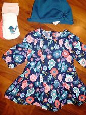0 3 M Gymboree 4pc Teal FOREST FRIENDS Flower Dress Cap Baby Girl New Born NWT