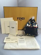 New with tags! Fendi Navy Fur-Trimmed Micro Backpack Keychain