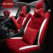 PU Car Seat Cover Adjustable Cushion Front Rear Set Red-White Fit For CR-V Civic