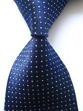 New Classic Pattern Dark Blue White JACQUARD WOVEN 100% Silk Men's Tie Necktie