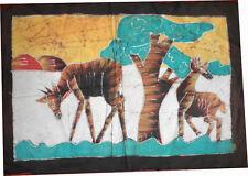 Batik Afrique de Cote d'Ivoire scene de brousse gazelles