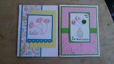 "LOT 2 Handmade ""HELLO SWEET FRIEND"" & BEST WISHES cards, Stampin up, embossed"