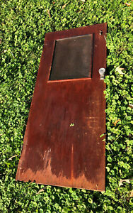 Vintage Cabin Galley Wood Boat Door with Screen Window Hardware Doorknob Small