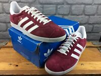 ADIDAS OG UK 9 EU 43 1/3 GAZELLE BURGUNDY WHITE SUEDE TRAINERS RRP £90 M