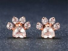 Dog Cat Paw Print Rose Gold Colored Earrings With Pink Heart CZ Stone Jewelry