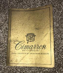 1982 Cadillac Cimarron Repair Service Shop Manual Information General Motors