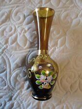 Bohemian Czech Crystal Vase Gold Glass w Hand-Painted Enamel Flowers & Gold