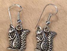 Cute New Tibetan Silver Squirrel Dangle Drop Earrings w/Sterling Silver Hooks