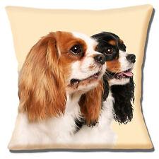 "COUPLE CAVALIER KING CHARLES SPANIELS PHOTO PRINT CREAM 16"" Pillow Cushion Cover"