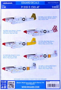 """Eduard Decals D48080 1/48 North-American P-51D-5 Mustang """"15th Air Force"""""""
