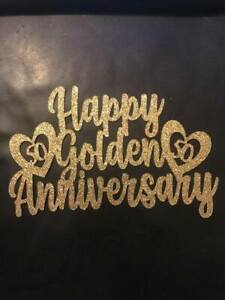 Cake Topper Happy Golden Anniversary 50 Years Gold Glitter Card