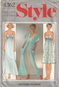 Style Sewing Pattern 4362 Nightdress Nightie Gown Robe Vintage Size 14-16 Uncut