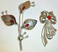 "Two Beautiful RETRO Red Rhinestone Silver Tone LARGE Brooch Pins 3"" and 5"""