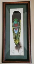 More details for resplendent quetzal bird hand painted on a feather framed and signed costa rica
