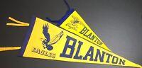 2 Vintage Blanton Elementary School Eagles Pennants Denton TX Texas Flags 1950s