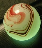 "5/8"" Gorgeous MILKY Oxblood TIGHT BAND WHITE OPAL BASE Akro CAC NM Patch Marbles"