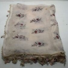 vintage small table cloth 27 x 28 flower design, tassels with knitted flowers