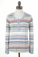 EDDIE BAUER Womens Zip Neck Top Long Sleeve Size 6 XS Multi Stripes Cotton  CW06