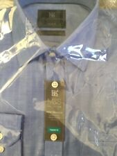 "M&S PURE COTTON SHIRT IN CORNFLOWER BLUE WITH HERRINGBONE DESIGN- SIZE 15"" BNWT"