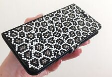 Black White Leopard Made with Swarovski Crystals Bling Wallet Case iPhone 7 Plus