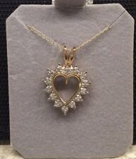 Genuine Diamond Heart Shape Necklace - 10k Gold - New