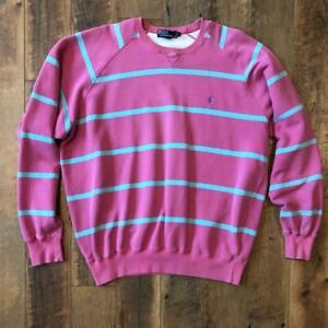 Rare VTG 80s/90s Pink Striped Polo Ralph Lauren Pony Logo Sweat Shirt L/XL
