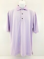 FootJoy FJ Men's Fit  Purple w/Stripes Golf Polo Shirt   R Logo SZ L Large