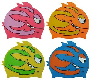 CHEX Grade A Silicone Fish Fin Childrens Swimming Swim Hat Cap Smiley Teeth 2020