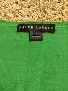 RALPH LAUREN BLACK LABEL Sz. Med Lightweight Green 100% Cashmere V-Neck Sweater