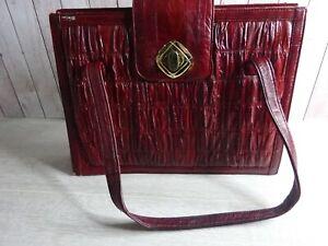 Vintage - Eel Skin Burgundy - Handbag with Small Purse - Sam Jin Co Korea