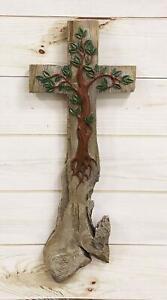 "Ebros Rustic Celtic Tree of Life Wall Cross Crucifix Decor Hanging Plaque 18""H"