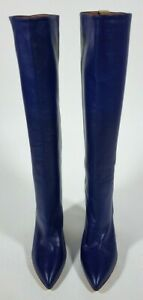 PARIS TEXAS Blue Smooth Leather Tall Boots