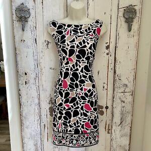 Diane Von Furstenberg Neiman Marcus Size 8 Silk Black Pink Ivory Career Dress